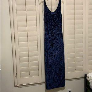 Crushed Blue Velvet Maxi Dress S